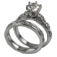 14k Gold Lotus Crest Antique Style Wedding Set Moissanite Rings - Product Image