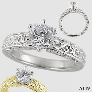 Platinum Antique/Victorian Moissanite Engagement Ring - Product Image