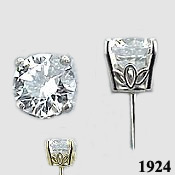 Platinum Charles & Colvard Moissanite Basket Stud Earrings - Product Image