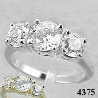 3 Stone Platinum Debeers Style Engagement Ring - Product Image