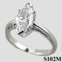 14k Gold Marquis Cut Antique/Scroll Solitaire Moissanite Ring - Product Image
