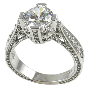 14k Gold 2ct Fancy Antique/Victorian Moissanite Ring - Product Image