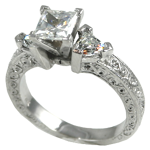 14k Gold Antique/Deco Princess Trillions Moissanite ring - Product Image