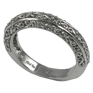 14k Gold Antique Fancy Filigree Wedding Band Ring - Product Image