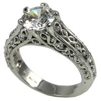 14k Gold Antique/Filigree Solitaire Moissanite Ring - Product Image