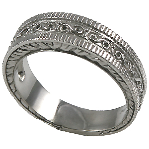 14k Gold Mens Antique Fancy Wedding Band Ring - Product Image
