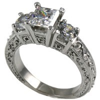 14k Gold 2 ctw 3 Stone Antique Princess/Round Moissanite Ring - Product Image