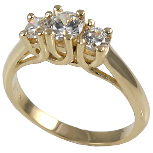 14k Gold Lucern Style Round Brilliant 3 Stone Moissanite Ring - Product Image