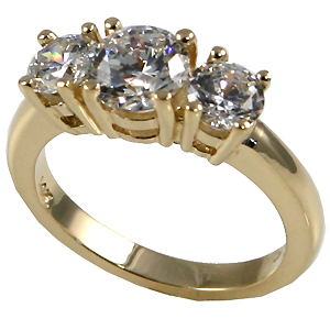 Traditional 14k Gold 3 Stone Past-Present-Future Moissanite Anniversary Ring - Product Image