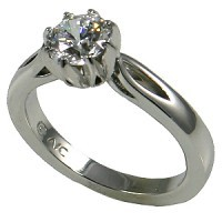14k Gold Round Brilliant 8 Prong Moissanite Engagement Ring Wedding Set - Product Image