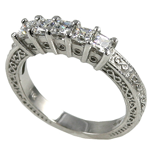 14k Gold 1 ctw Princess Antique Wedding/Anniversary Moissanite Band Ring - Product Image