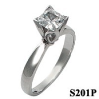 14k Gold Moissanite Tulipset Princess Solitaire Ring - Product Image