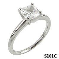 14k Gold Moissanite Cushion Cut Tiffany Style Engagement Ring - Product Image