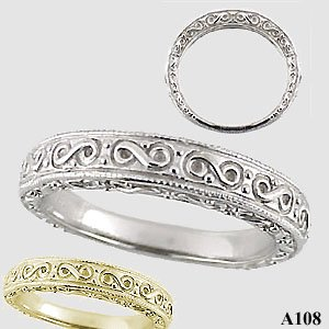 Sterling Silver Antique Fancy Wedding Band Ring - Product Image