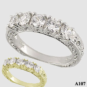 Sterling Silver Antique Wedding/Anniversary Moissanite Band - Product Image