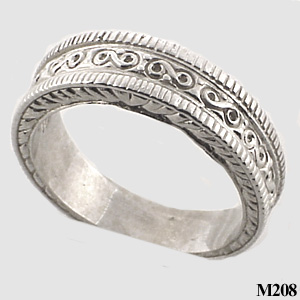 Sterling Silver Mens Antique Fancy Wedding Band - Product Image