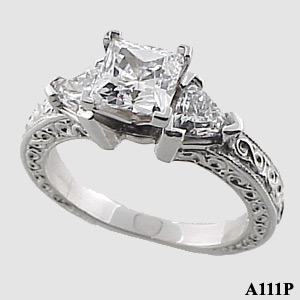 Sterling Silver Antique/Deco Princess Trillions Moissanite ring - Product Image