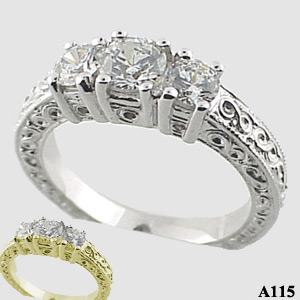 Sterling Silver 3 stone antique ring 1 ctw Moissanite Ring - Product Image