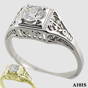 Sterling Silver 1/2 ct Moissanite Antique/Deco solitaire ring - Product Image