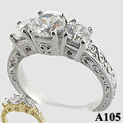 Sterling Silver 2 ctw 3 Stone Antique/Deco Moissanite Ring - Product Image