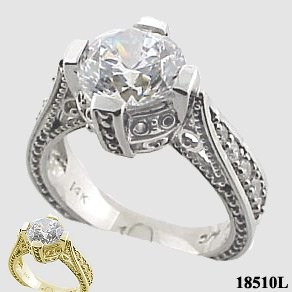 Sterling Silver 2ct Fancy Antique/Victorian Moissanite Ring - Product Image