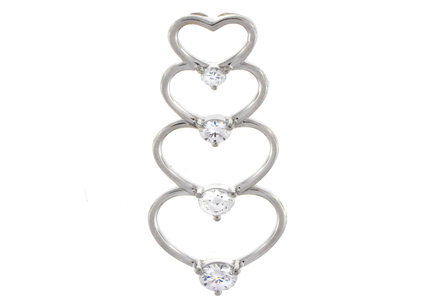 14k Gold Charles & Colvard Moissanite Journey Heart Pendant - Product Image