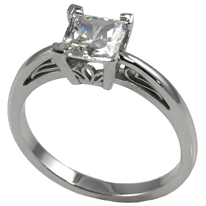 14k Gold Charles & Colvard Moissanite Princess Cut Antique/Scroll Solitaire Ring - Product Image