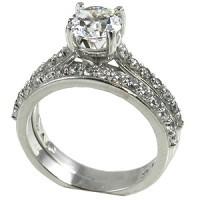 14k Gold 1.25 ct Wedding Set Moissanite Band Ring - Product Image