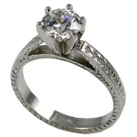 14k Gold Moissanite Rings Antique Cathedral Engagement Ring - Product Image