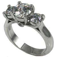 14k Gold Modified Lucern Past-present-future Moissanite Ring w/accent stones - Product Image