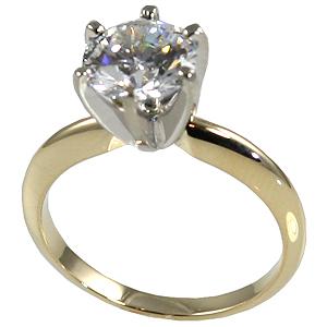 14k Gold Round Brilliant Moissanite 6 Prong Tiffany Engagement Ring - Product Image