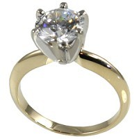 14k Gold Round Brilliant Moissanite 6 Prong Tiffany Engagement Ring - Product Image
