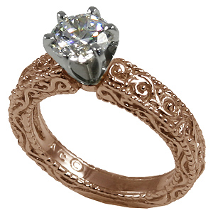~14k Rose Gold Moissanite Antique Victorian Engagement Ring - Product Image