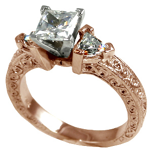 14k Rose Gold Antique/Deco Princess w/ Trillions Moissanite ring - Product Image