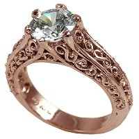 14k Rose Gold Antique/Filigree Moissanite Solitaire Ring - Product Image