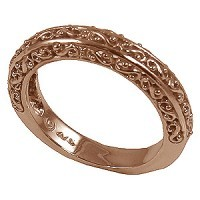 14k Rose Gold Antique Fancy Filigree Wedding Band Ring - Product Image