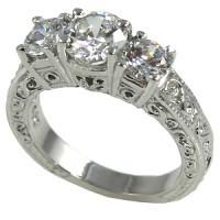 14k Gold 2ctw 3Stone Antique Wedding Band Moissanite Ring - Product Image