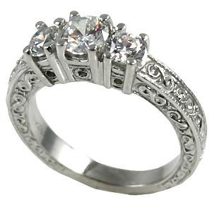 14k Gold 1ctw 3Stone Antique Wedding Band Moissanite Ring - Product Image