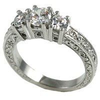 14k Gold 1ctw 3Stone Antique Wedding Band Moissanite Ring - Product Image
