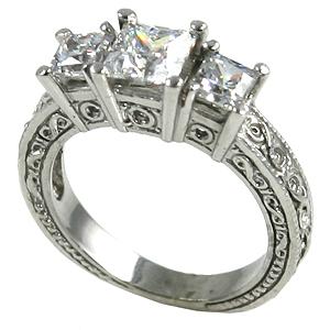 14k Gold 2ctw 3Stone Princess Antique Band Wedding Set Moissanite Ring - Product Image