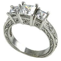 14k Gold 2ctw 3Stone Princess Antique Band Wedding Set Moissanite Ring - Product Image