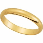 Solid 14k Gold Half Round 3mm Wedding Band Ring  - Product Image