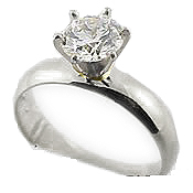 Sterling Silver Charles & Colvard Moissanite 4mm Wide Band Engagement Ring - Product Image