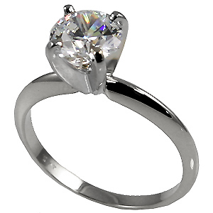 Sterling Silver Moissanite 4 Prong Tiffany Engagement Ring - Product Image