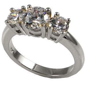 Sterling Silver 3 Stone Moissanite Anniversary Ring - Product Image