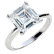Sterling Silver Charles & Colvard Moissanite Asscher Cut Tiffany Engagement Ring - Product Image