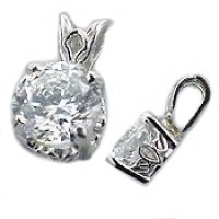 14k Gold Antique/Scroll Style Moissanite Pendant - Product Image