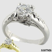 14k Gold Antique Floral Solitaire Engagement Ring - Product Image