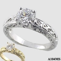 1 Carat Moissanite Antique/Deco Fancy Engagement Ring - Product Image