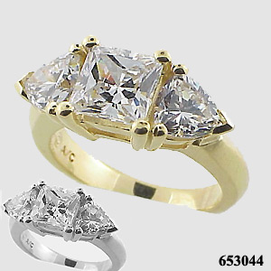 14k White Gold 3ct Princess/Trillion Moissanite Ring - Product Image